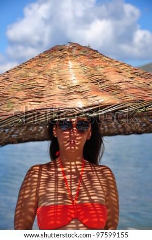 e50d3f7dd8323 Woman Under Umbrella Like Huge Hat Stock Photo (Edit Now) 97599155 ...