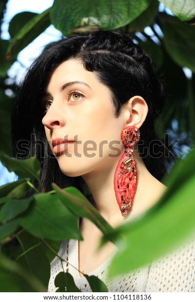 Woman Undercut Hairstyle Wearing Red Silk Stock Photo (Edit