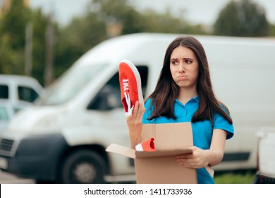 Woman Unsatisfied with Internet Order Receiving Bad Shoes. Customer unhappy with quality of online internet order
