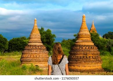 Woman in Upali Thein temple in Bagan, Myanmar