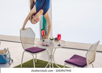 Woman upstairs on the table ready for dinner