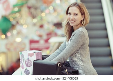 woman urban concept of holiday shopping winter