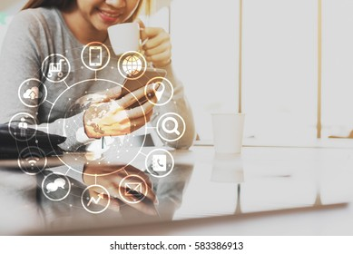 Woman use smartphone, internet of things conceptual, globalization omni channel communication