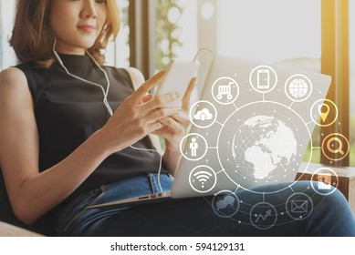 Woman use smartphone and laptop, internet of things conceptual, globalization omni channel communication