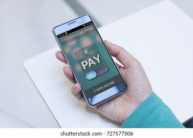Woman using contemporary modern smartphone to make an online payment. Shopping online concept