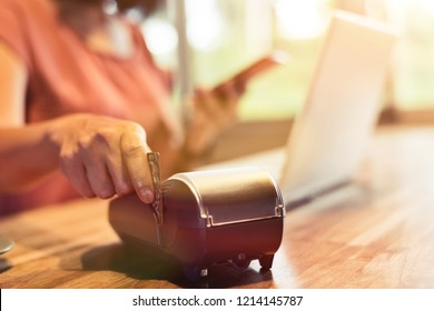 woman using a credit card, concept of payment or shopping