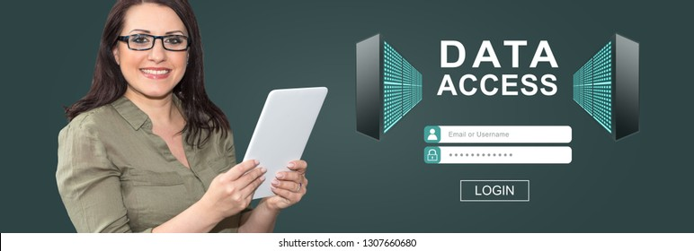 Woman using digital tablet with data access concept on background