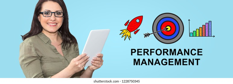 Woman using digital tablet with performance management concept on background