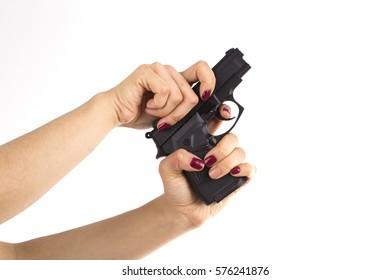 Woman using gun white background
