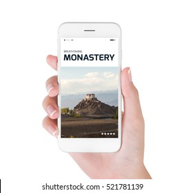 woman using her smartphone for searching the travel information of beautiful Stakna monastery in the Himalayan range, Leh, Ladakh India. Traveling concept, isolated on white background.