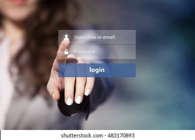 Woman using login interface on touch screen. Touching login box, user name and password inputs on virtual digital display.