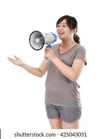 woman using loudspeaker
