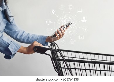 woman using mobile payments online shopping and icon customer network connection on screen, m-banking and omni channel
