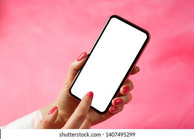 Woman using mobile phone and touching screen with finger, mockup for app design.