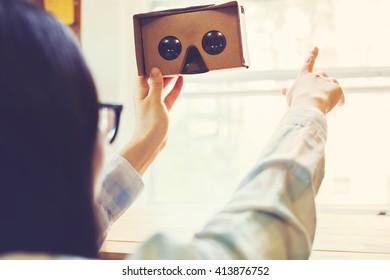 Woman using a new virtual reality headset