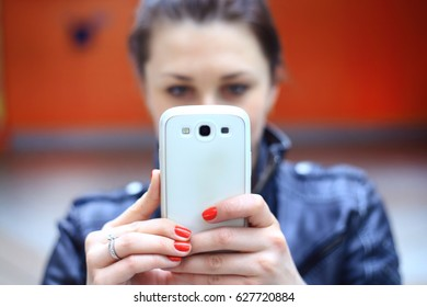 Woman using smart phone mobile.