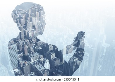 Woman using smart phone and New York city.