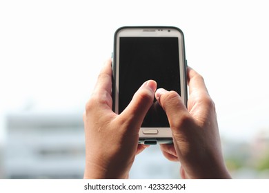 Woman Using a Smart Phone with Vintage Style