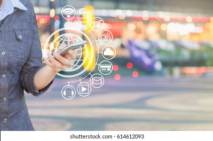 Woman using smartphone and media icon web, Connect to the Internet with smartphone.