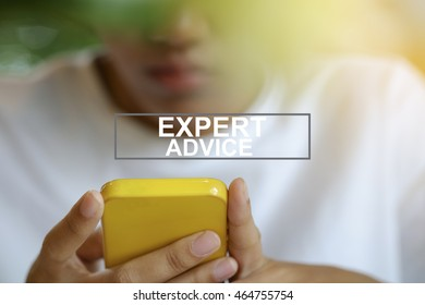 Woman using smartphone or mobile phone with EXPERT ADVICE text , business concept