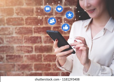 Woman using smartphone. Social media concept