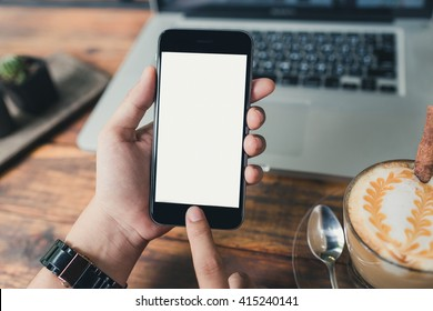 woman using smartphone white screen.