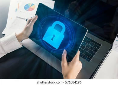 Woman using tablet  with Cyber Security