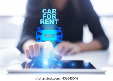 Woman using tablet pc and pressing car for rent on virtual screen.