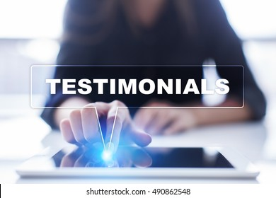 "Woman is using tablet pc, pressing on virtual screen and selecting ""Testimonials""."