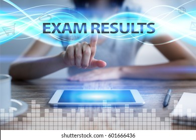Woman using tablet pc, pressing on virtual screen and selecting exam results.