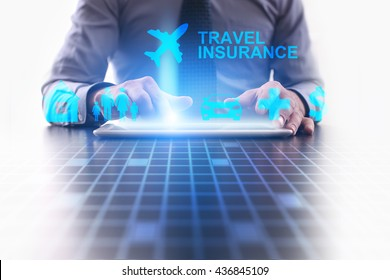 Woman is using tablet pc and selecting a kind of insurance. Travel insurance.