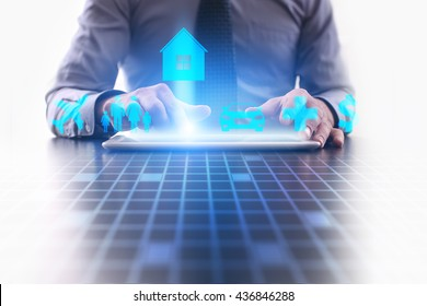 Woman is using tablet pc and selecting a kind of insurance. home insurance.