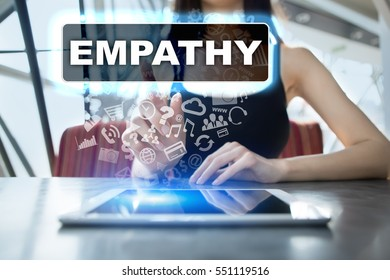 Woman using tablet pc and selecting empathy.