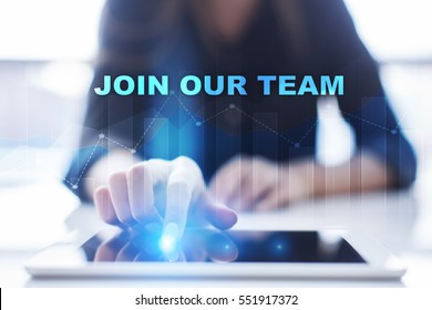 Woman using tablet pc and selecting join our team.