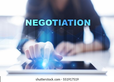 Woman using tablet pc and selecting negotiation.
