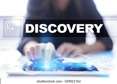 Woman using tablet pc and selecting discovery.