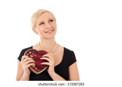 Woman with valentine's gift isolated on white