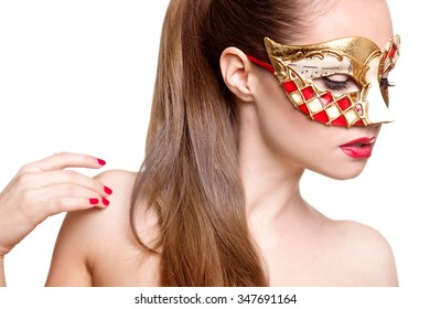 Woman in venetian mask. Carnival mask Close-up female portrait. New year party