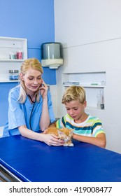 A woman vet examining a kitten in front of a little boy at medical office