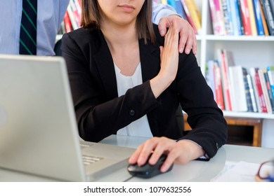 Woman victim of harassment on workplace and feeling fear