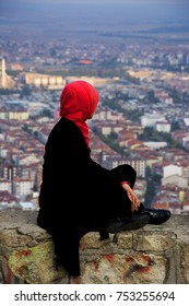Woman viewing the city of Afyonkarahisar