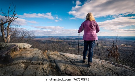 Woman viewing landscape along the Appalachian Trail in Stokes State Forest, New Jersey