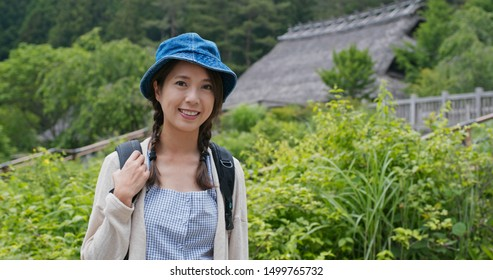 Woman visit Japanese old village house