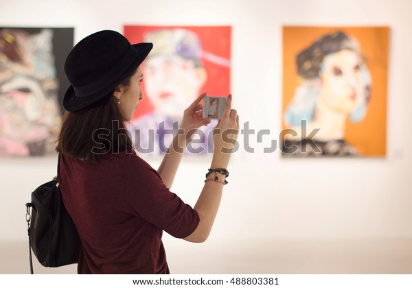 Woman Visiting Art Gallery Lifestyle Concept
