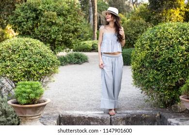 Woman visiting spanish park