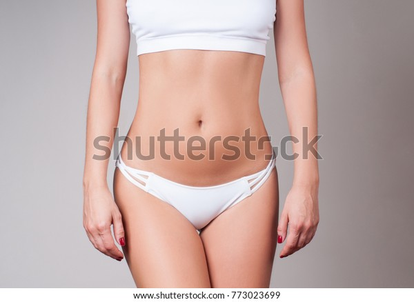 Woman waist. Girl with perfect body shape, flat belly in underwear. Health, Hygiene Concepts
