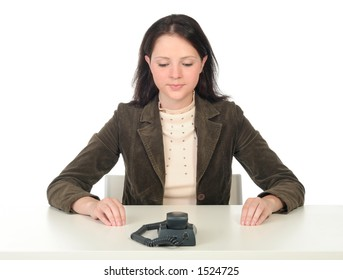 Woman Waiting for Phone Call