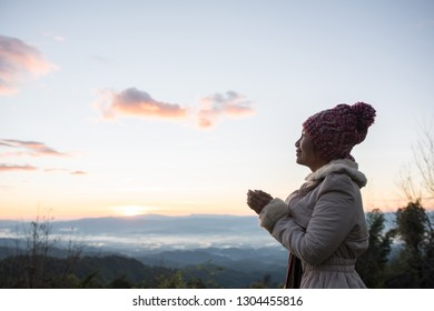 Woman wake up relax in morning on th mountain