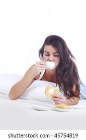 woman wake and see morning coffee