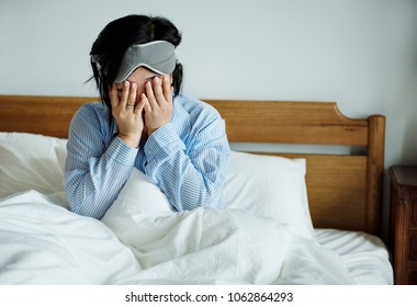 A woman waking up